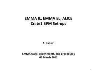EMMA IL, EMMA EL, ALICE  Crate1 BPM Set-ups