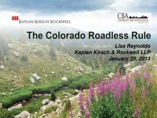Lisa Reynolds Kaplan Kirsch & Rockwell LLP January 29, 2013