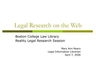 Legal Research on the Web