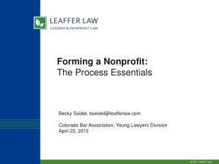 Forming a Nonprofit:  The Process Essentials