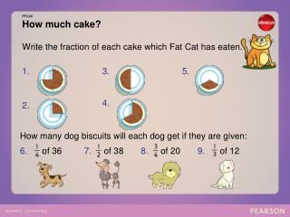 FF3.20 How much cake? Write the fraction of each cake which Fat Cat has eaten.