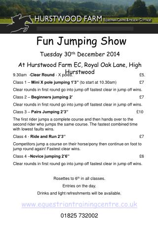 Fun Jumping Show Tuesday 30 th  December 2014