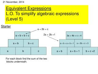 Equivalent Expressions L.O. To simplify algebraic expressions (Level 5)