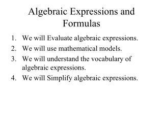 Algebraic Expressions and Formulas