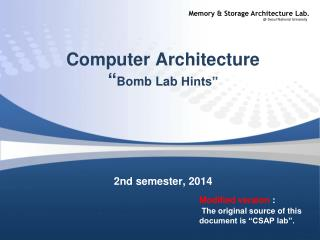 "Computer Architecture "" Bomb  Lab  Hints"""