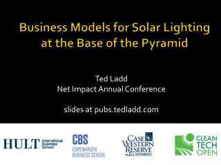 Business Models for Solar Lighting at the Base of the Pyramid