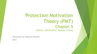 Protection Motivation Theory (PMT) Chapter 5 Authors:  DiClemente , Salazar, Crosby