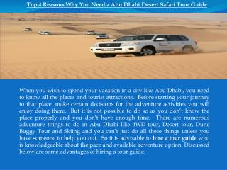 Top 4 Reasons Why You Need a Abu Dhabi Desert Safari Tour Gu