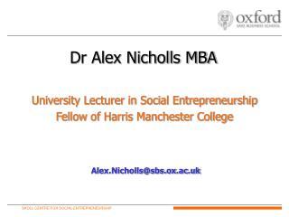 Dr Alex Nicholls MBA