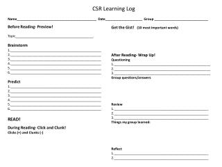 CSR Learning  Log