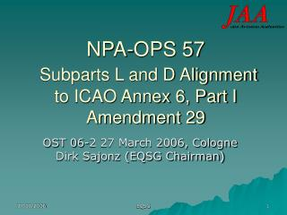 NPA-OPS 57  Subparts L and D Alignment to ICAO Annex 6, Part I Amendment 29