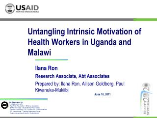 Untangling Intrinsic Motivation of Health Workers in Uganda and Malawi