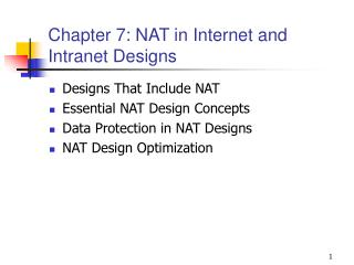 Chapter 7: NAT in Internet and Intranet Designs
