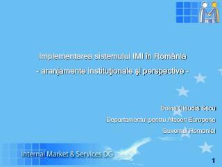 Implementarea sistemului IMI în România  - aranjamente instituţionale şi perspective  -