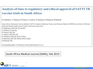 South Africa Medical Journal (SAMJ), Feb 2013