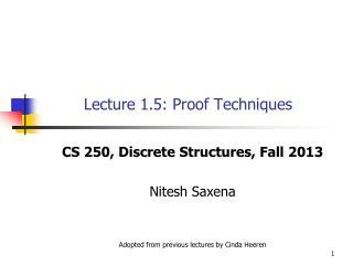 Lecture 1.5: Proof Techniques
