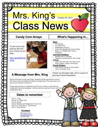 Mrs. King's  October  20,  2014 Class News