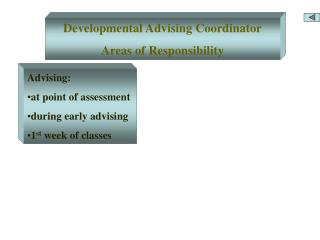 Developmental Advising Coordinator Areas of Responsibility