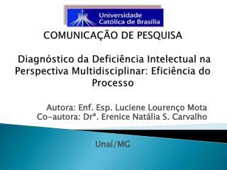 Autora: Enf. Esp. Luciene Lourenço Mota Co-autora :  Drª .  Erenice  Natália S. Carvalho Unaí/MG