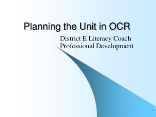 Planning the Unit in OCR