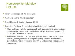 Homework for Monday  Oct. 5th