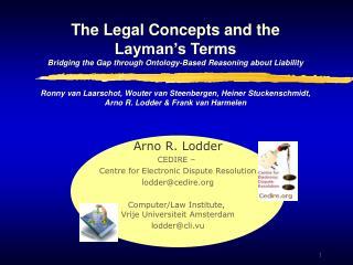 Arno R. Lodder CEDIRE –  Centre for Electronic Dispute Resolution l odder@ cedire