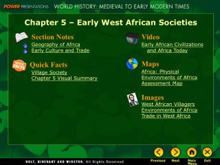 Chapter 5 – Early West African Societies