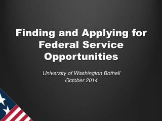 Finding and Applying for Federal Service Opportunities