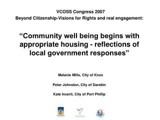 VCOSS Congress 2007 Beyond Citizenship-Visions for Rights and real engagement