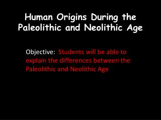 Human Origins During the  Paleolithic  and Neolithic Age