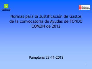 Normas para la Justificación de Gastos de la convocatoria de Ayudas de FONDO COMÚN de 2012