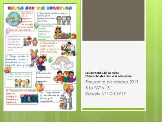 Los derechos de los niños El derecho de l niño a la educación
