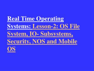 1.  File System Organisation and Implementation