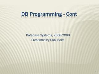 DB Programming - Cont