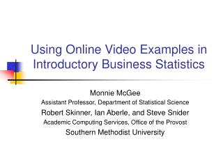 Using Online Video Examples in Introductory Business Statistics