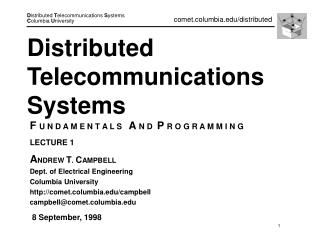 Distributed Telecommunications Systems