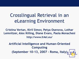 Crosslingual Retrieval in an eLearning Environment