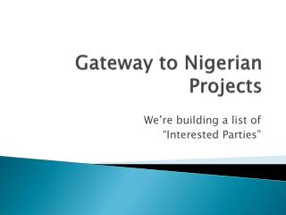 Gateway to Nigerian Projects
