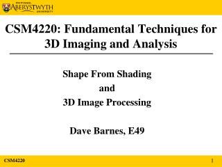 CSM4220: Fundamental Techniques for 3D Imaging and Analysis