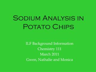 Sodium Analysis in Potato Chips