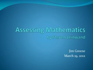 Assessing Mathematics by Steven  Leinwand