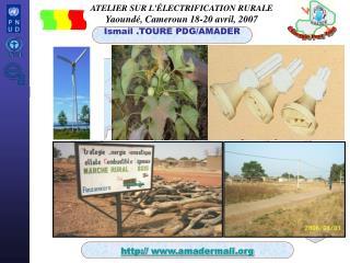 ATELIER SUR L'�LECTRIFICATION RURALE Yaound�, Cameroun 18-20 avril, 2007