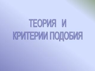 ТЕОРИЯ   И КРИТЕРИИ ПОДОБИЯ