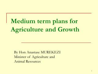 Medium term plans for Agriculture and Growth