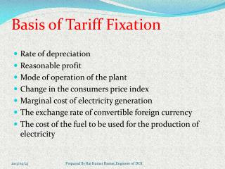Basis  of  Tariff Fixation