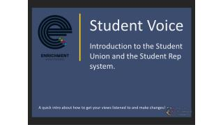 Student Voice Introduction to the Student Union and the Student Rep system.