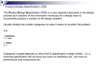 Product Design Specification - PDS