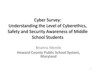 Brianna Mentle Howard County Public School System, Maryland