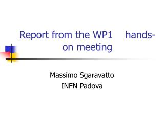 Report from the WP1    hands-on meeting