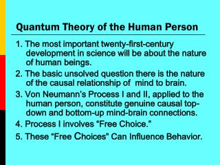 Quantum Theory of the Human Person